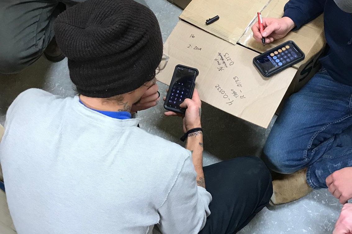 students with calculators