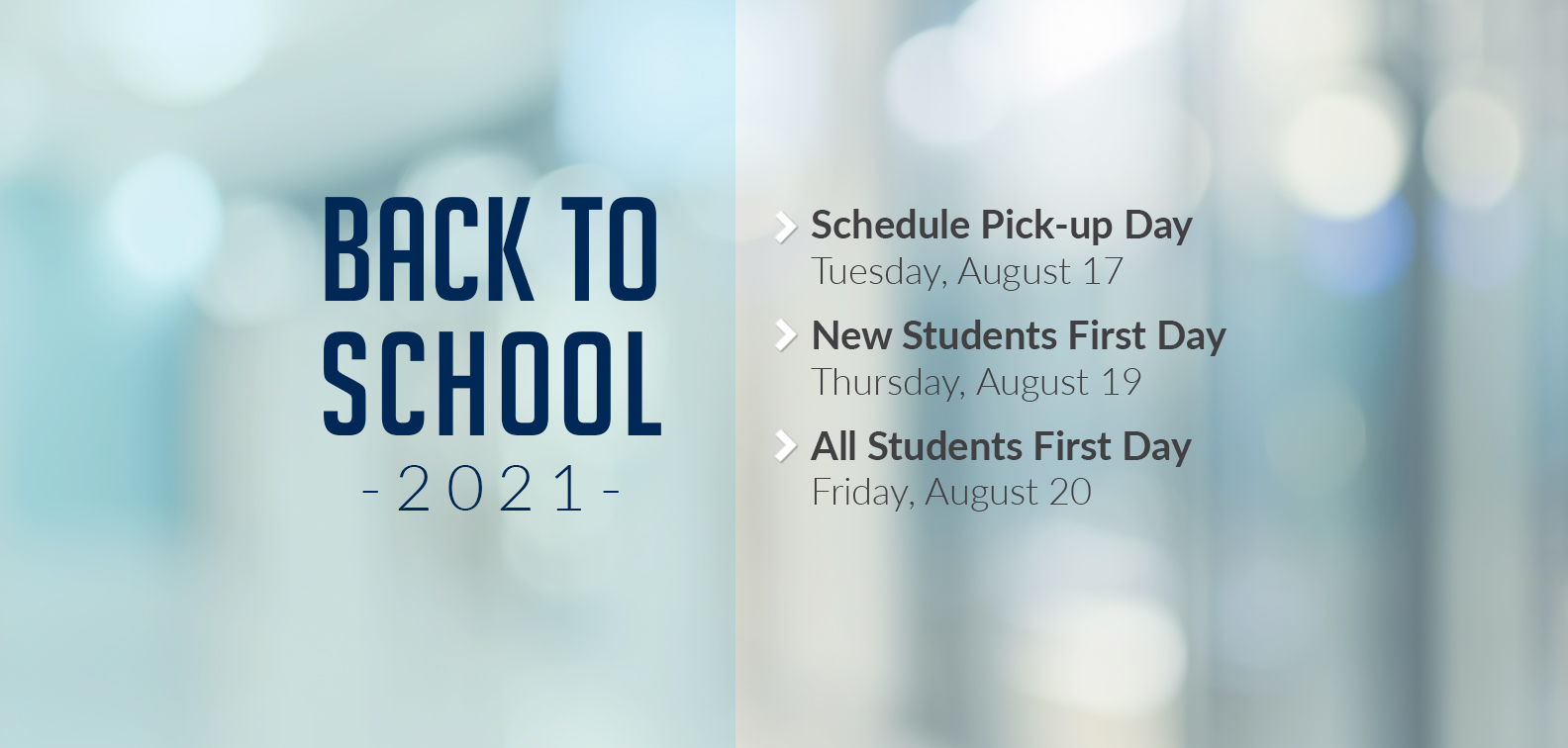 Back to School 2021 Dates