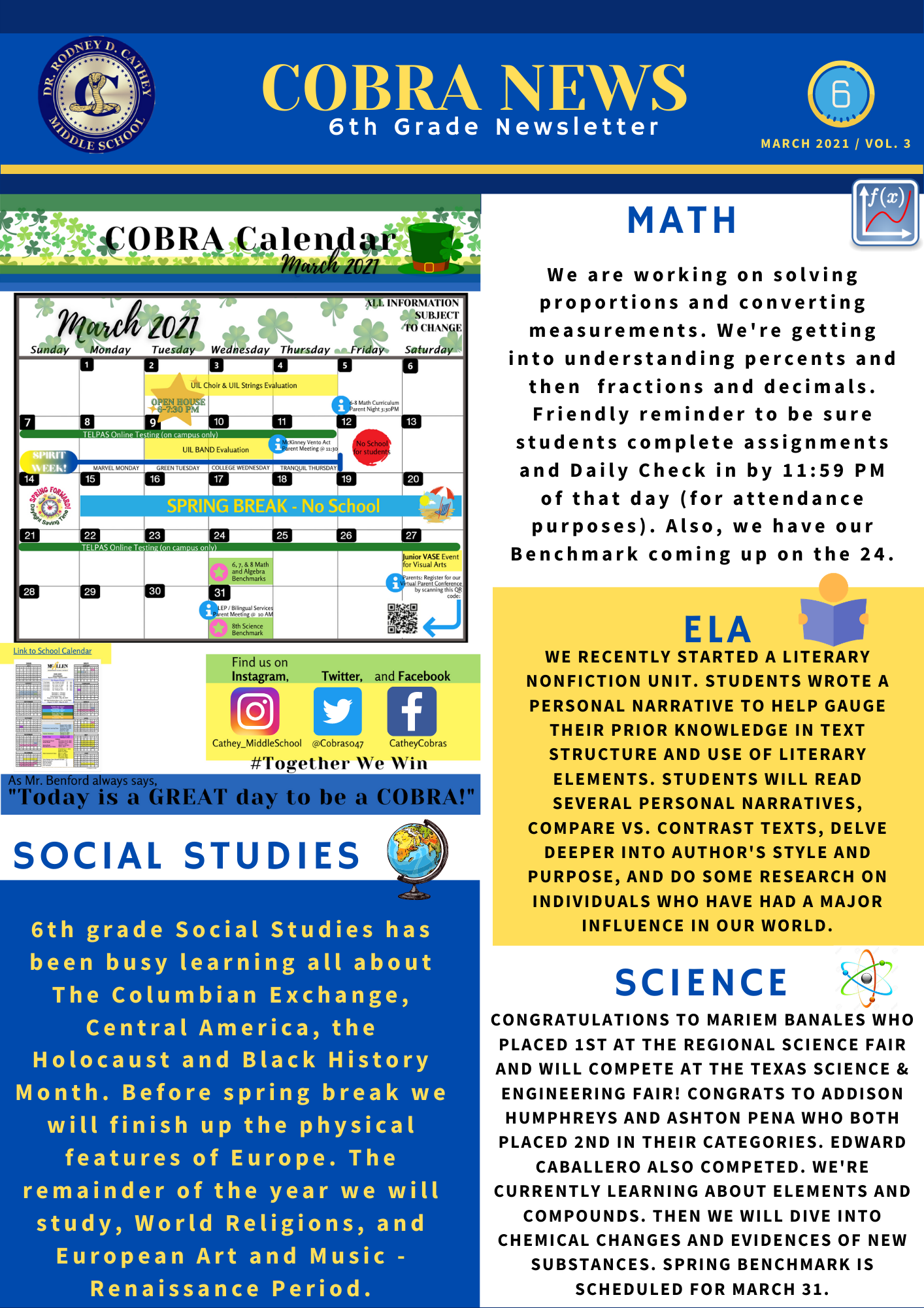 6th Grade March Newsletter