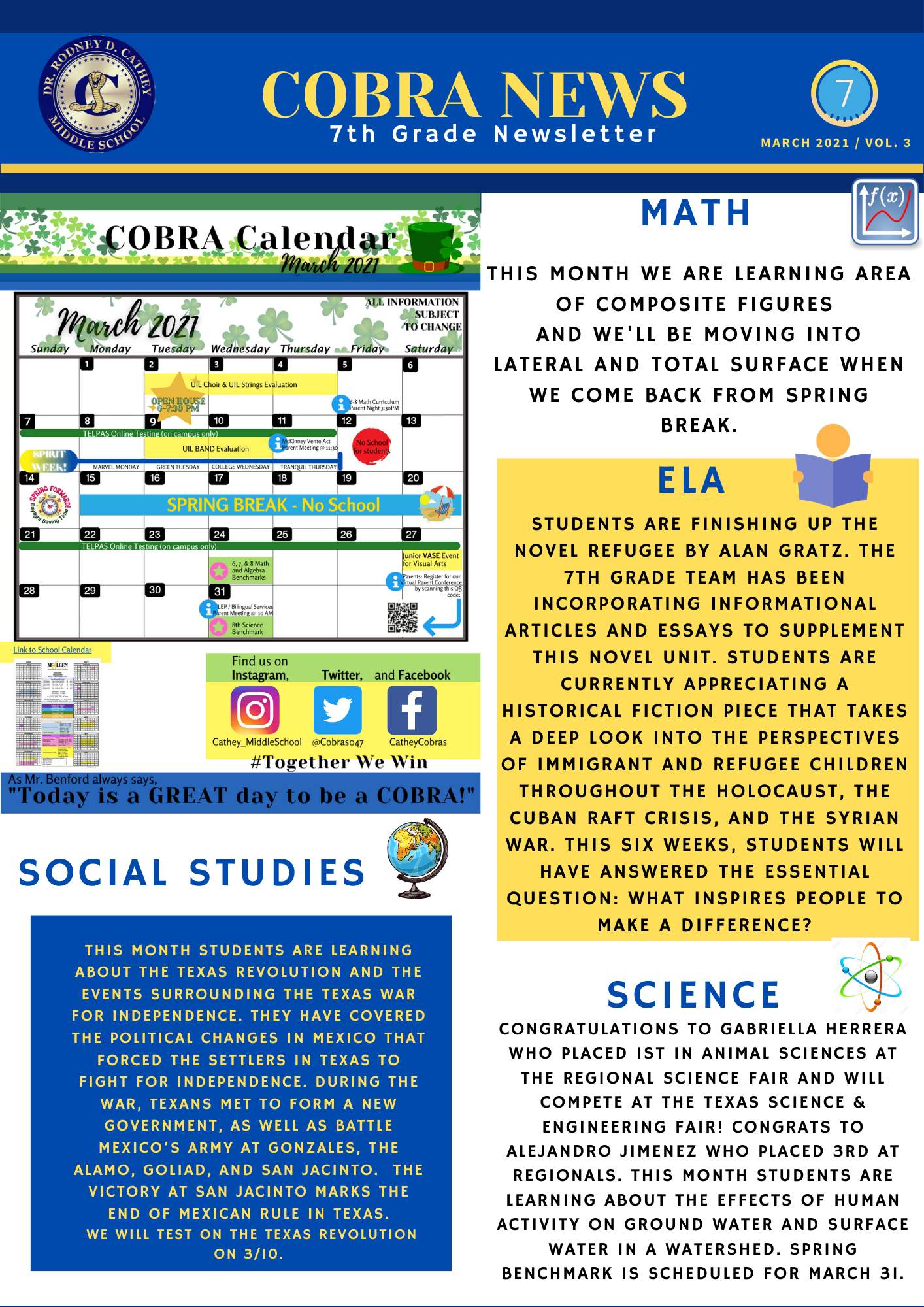 7th Grade March Newsletter