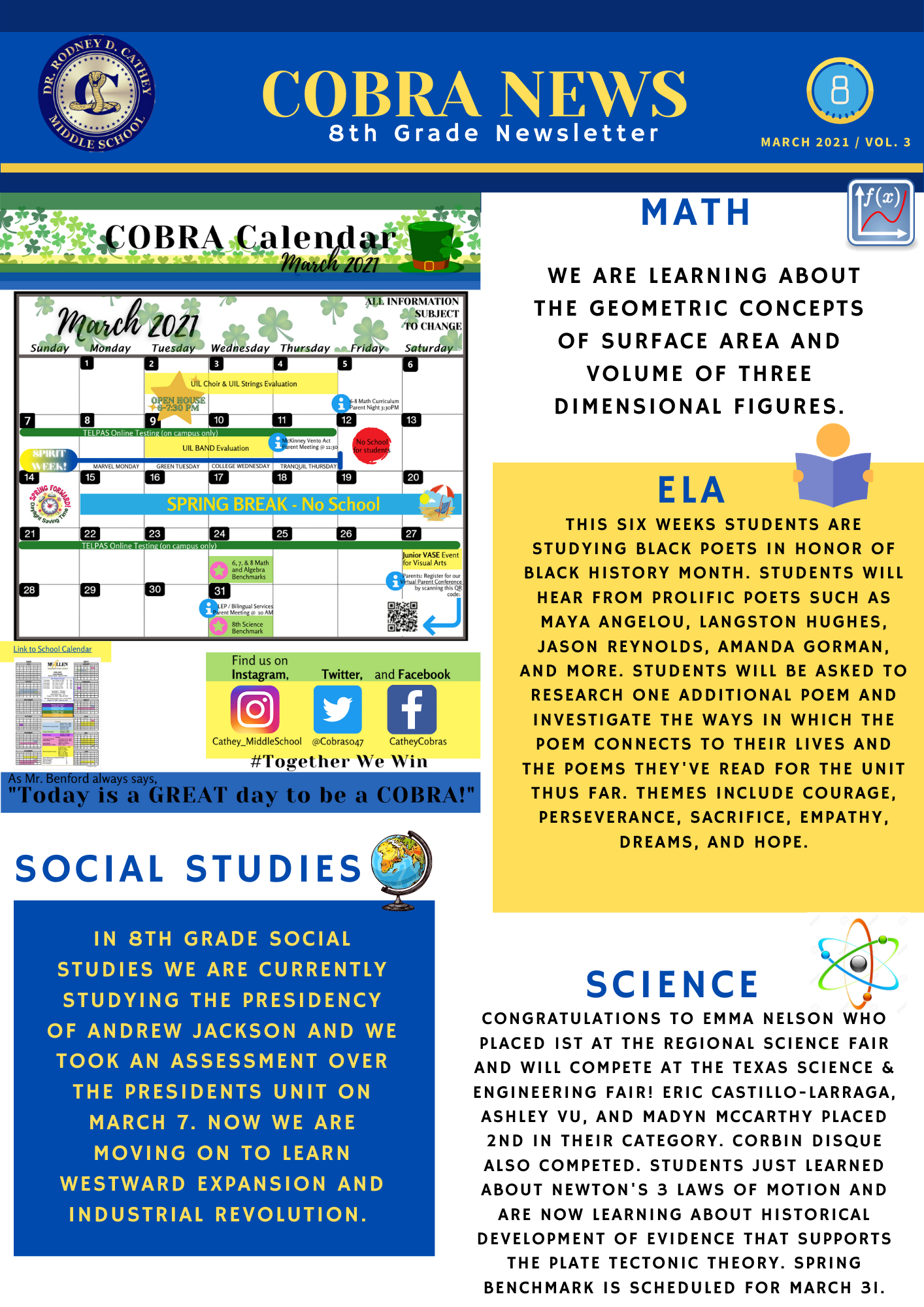 8th Grade March Newsletter