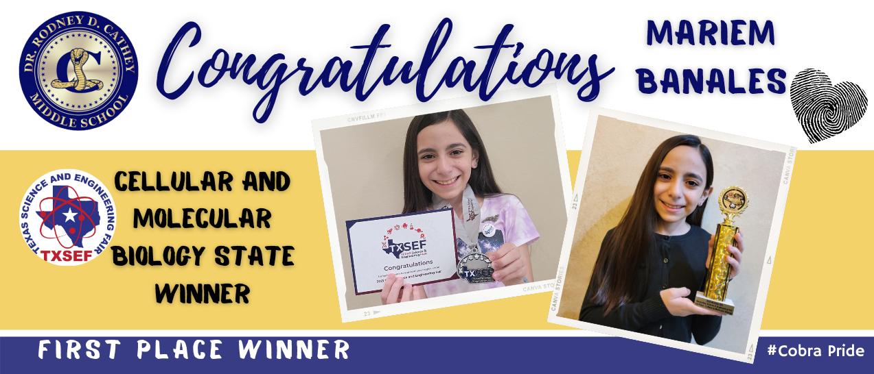 Congratulation State Science Winner