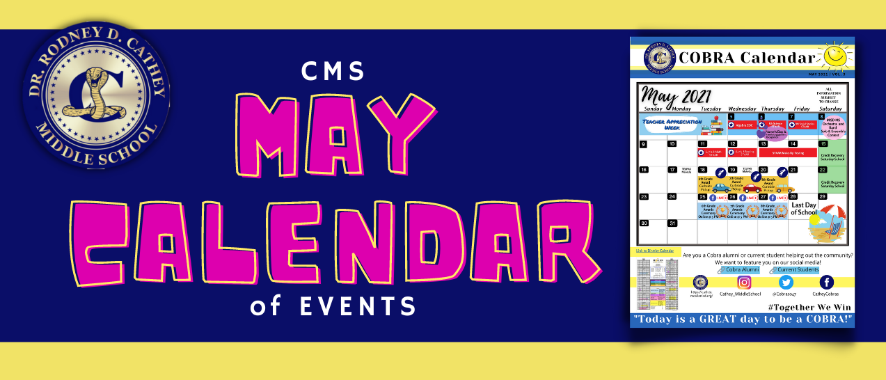May Calendar of Events Banner