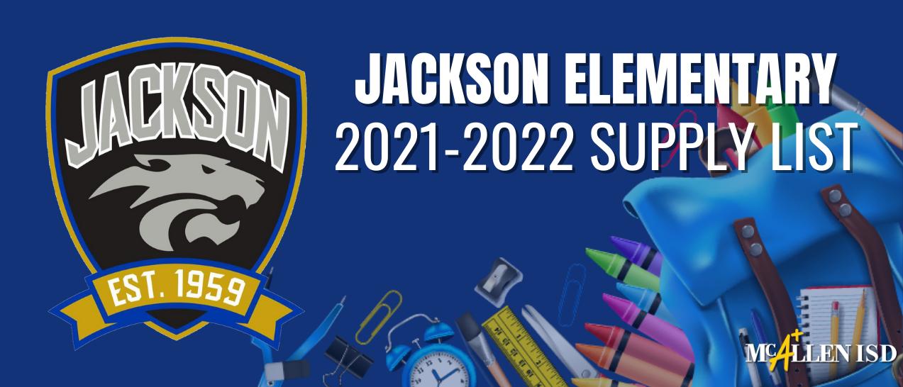 Jackson Elementary School Supply lists