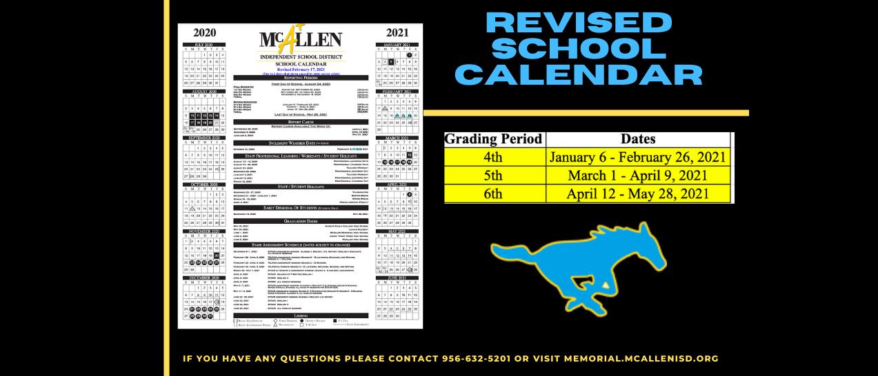 Revised School Calendar