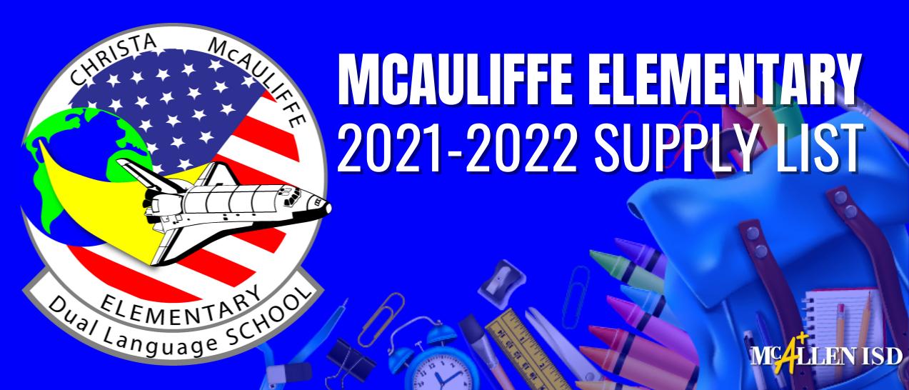 McAuliffe Elem School Supply Lists