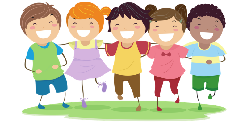 Clipart of 5 kids smiling
