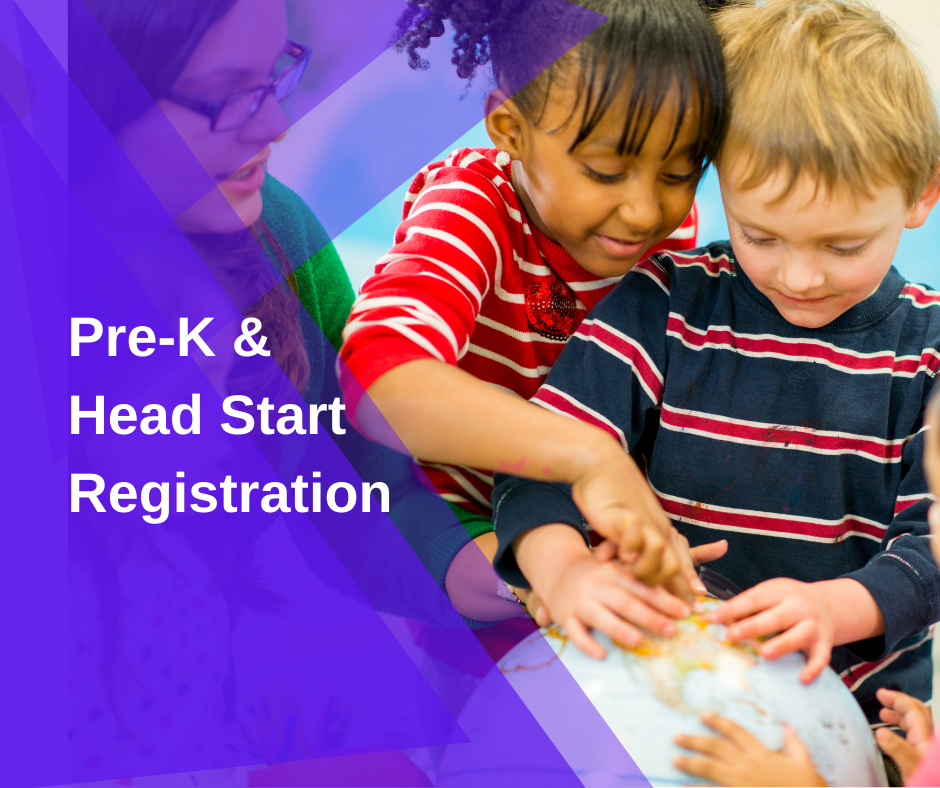 Pre-K & Head Start Registration - small children with their hands on a globe