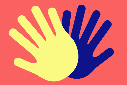 High Five Club - two hand shapes, one yellow and one blue, high fiving each other on a peach background