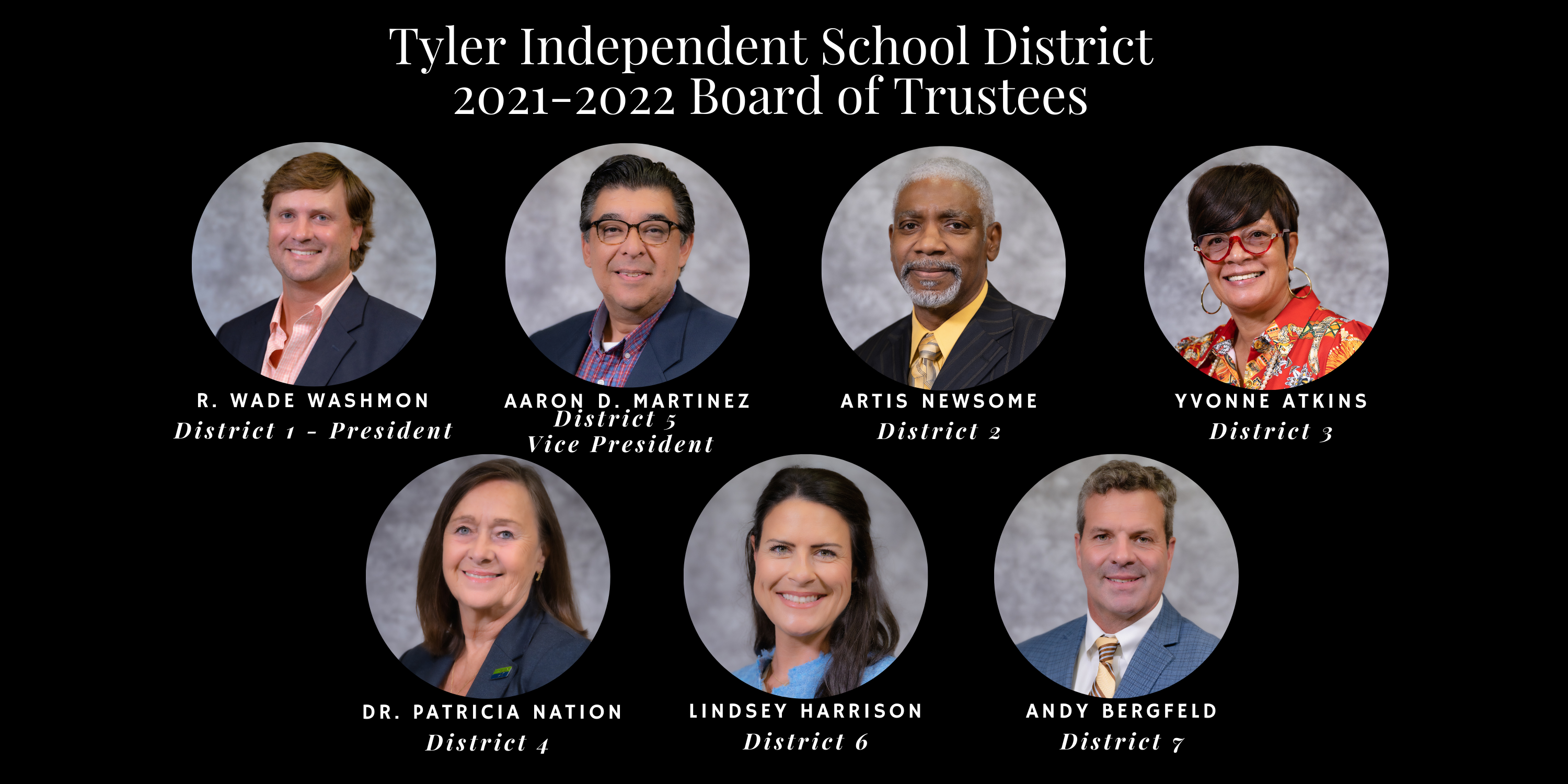 Tyler Independent School District 2021-2022 Board of Trustees. R. Wade Washmon District 1 - President, Aaron Martinez District 5 – Vice President, Artis Newsome District 2, Yvonne Atkins District 3, Dr. Patricia Nation District 4, Lindsey Harrison District 6,   Andy Bergfeld District 7
