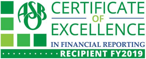 Certificate of Excellence in Financial Reporting Recipient FY2019