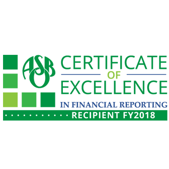 Certificate of Excellence in Financial Reporting Recipient FY18