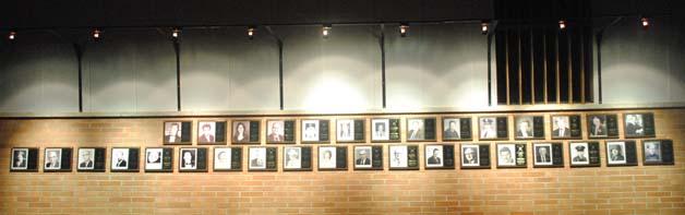 Photo of the DISTINGUISHED ALUMNI AWARD wall.