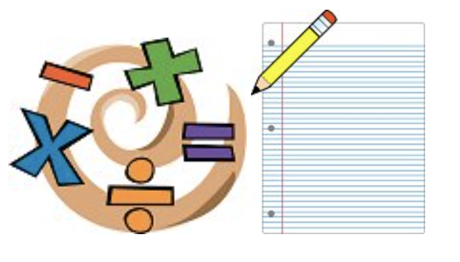 clip art of math symbols next to a pencil drawing over a blank page of paper