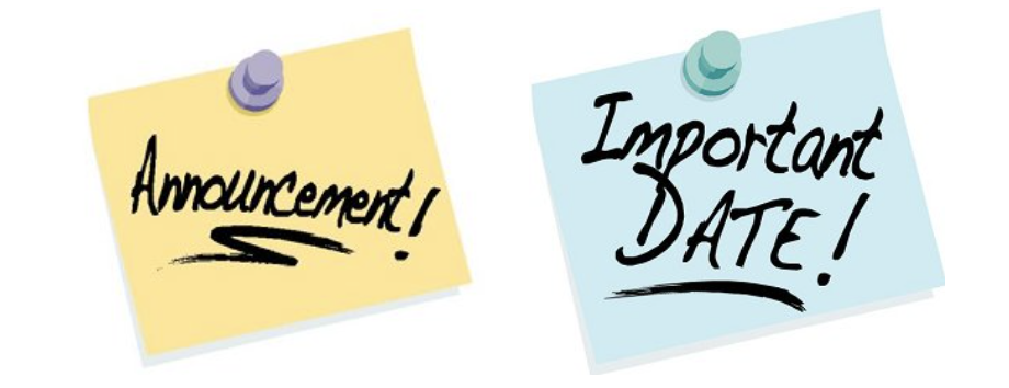 clipart that says announcement and important date on it