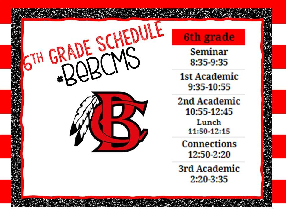 6th Grade F2F Schedule