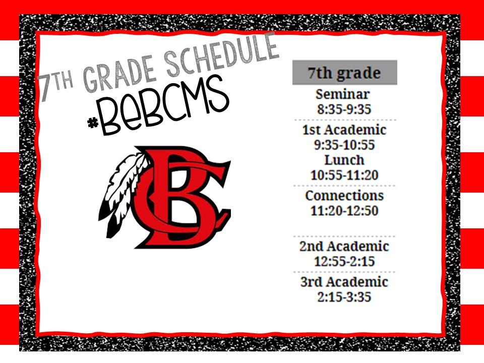 7th Grade F2F Schedule