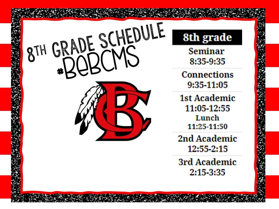 8th Grade F2F Schedule