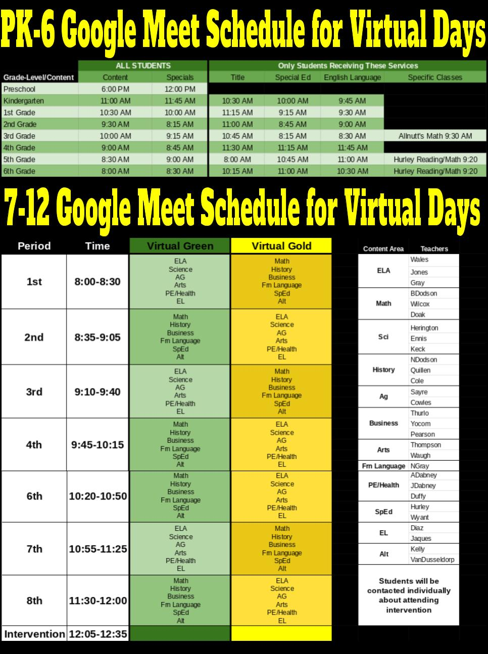 2020-21 PRESCHOOL-12TH GRADE GOOGLE MEET SCHEDULE FOR VIRTUAL DAYS