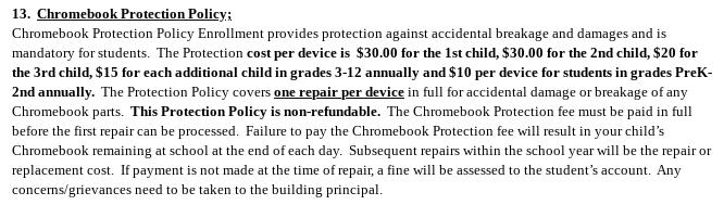 Chromebook Fees 2021-22