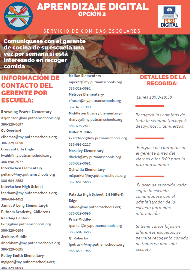 PCSD Digital Meals Flyer Spanish