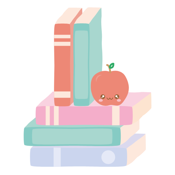 Stack of books with apple with a smiley face.