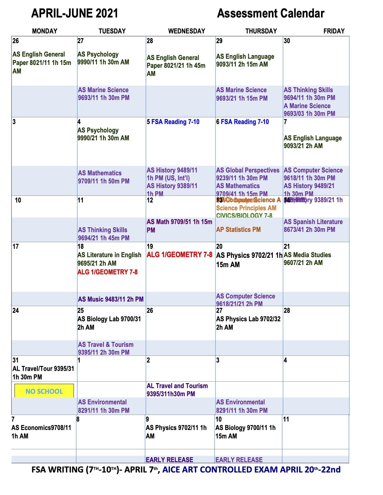 Spring 2021 Testing calendar