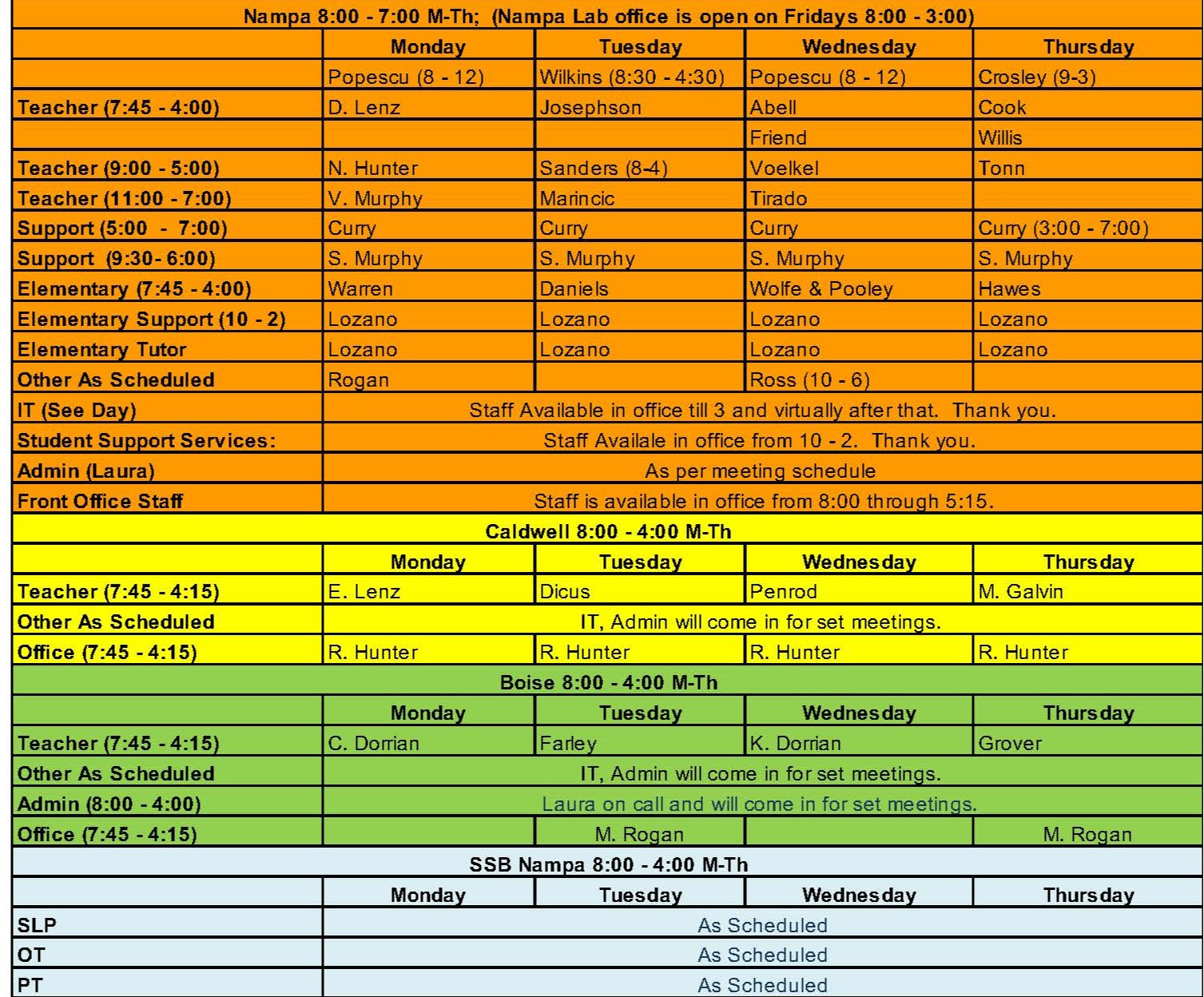 Computer Lab Schedule across campuses