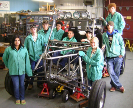 Lupita, Cody, Curtis, Evan, Freddy, Casey, Ty, Chris, Bobbie  Chassis is almost rolling own suspension