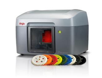 """Stratasys Mojo  Stratasys Mojo MOJO prints in ABS Thermoplastic with support material (similar to PLA) that is removed in a solvent tank after the print is completed. Our MOJO has a 5"""" x 5"""" x 5"""" print capacity for more information on the MOJO from Stratasys click the logo below"""