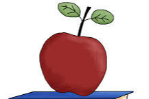 3 books with an apple on top