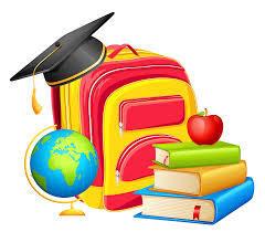backpack, globe, books, and mortar board