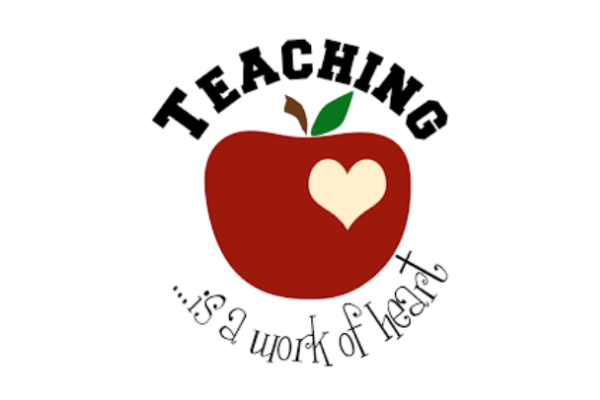 apple with the words Teaching is a work of the heart