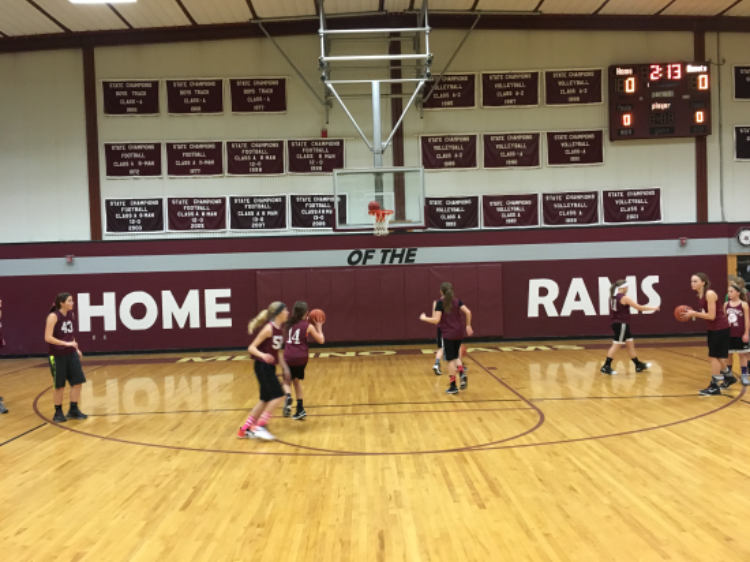 girls basketball team during practice