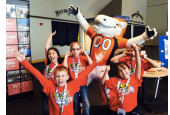 kids with the school mascot