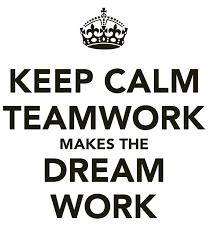 text of Keep calm teamwork makes the dream work