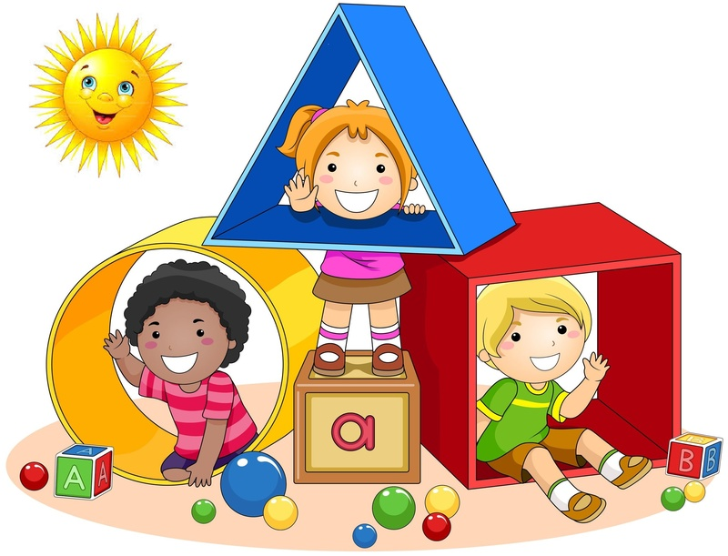 kids playing on shapes clipart