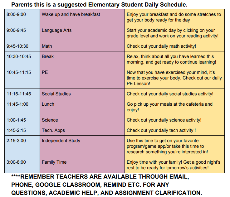 suggested elementary schedule