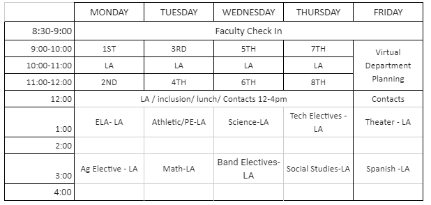 suggested DHS schedule