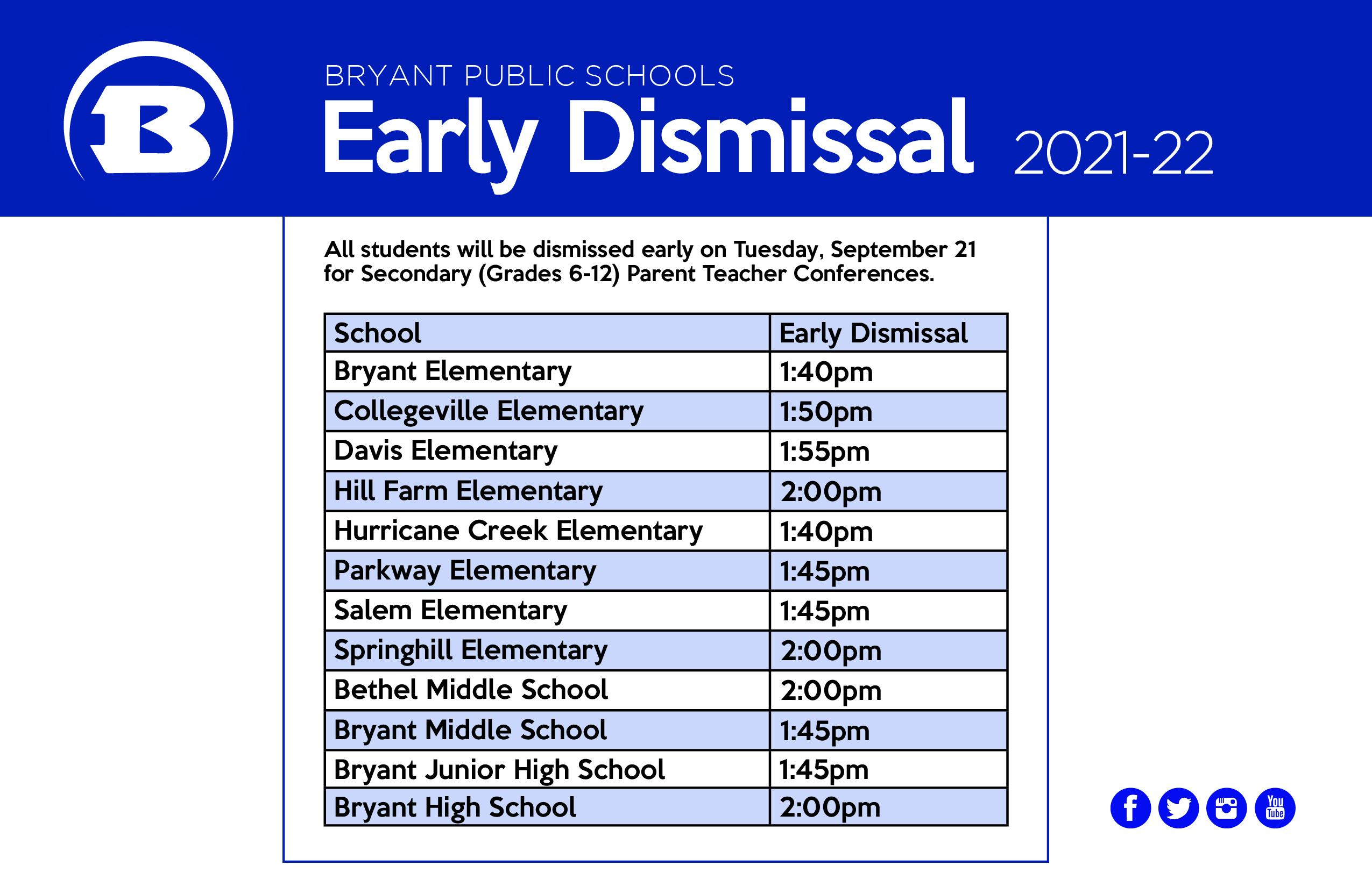 parent teacher conferences/early dismissal schedule