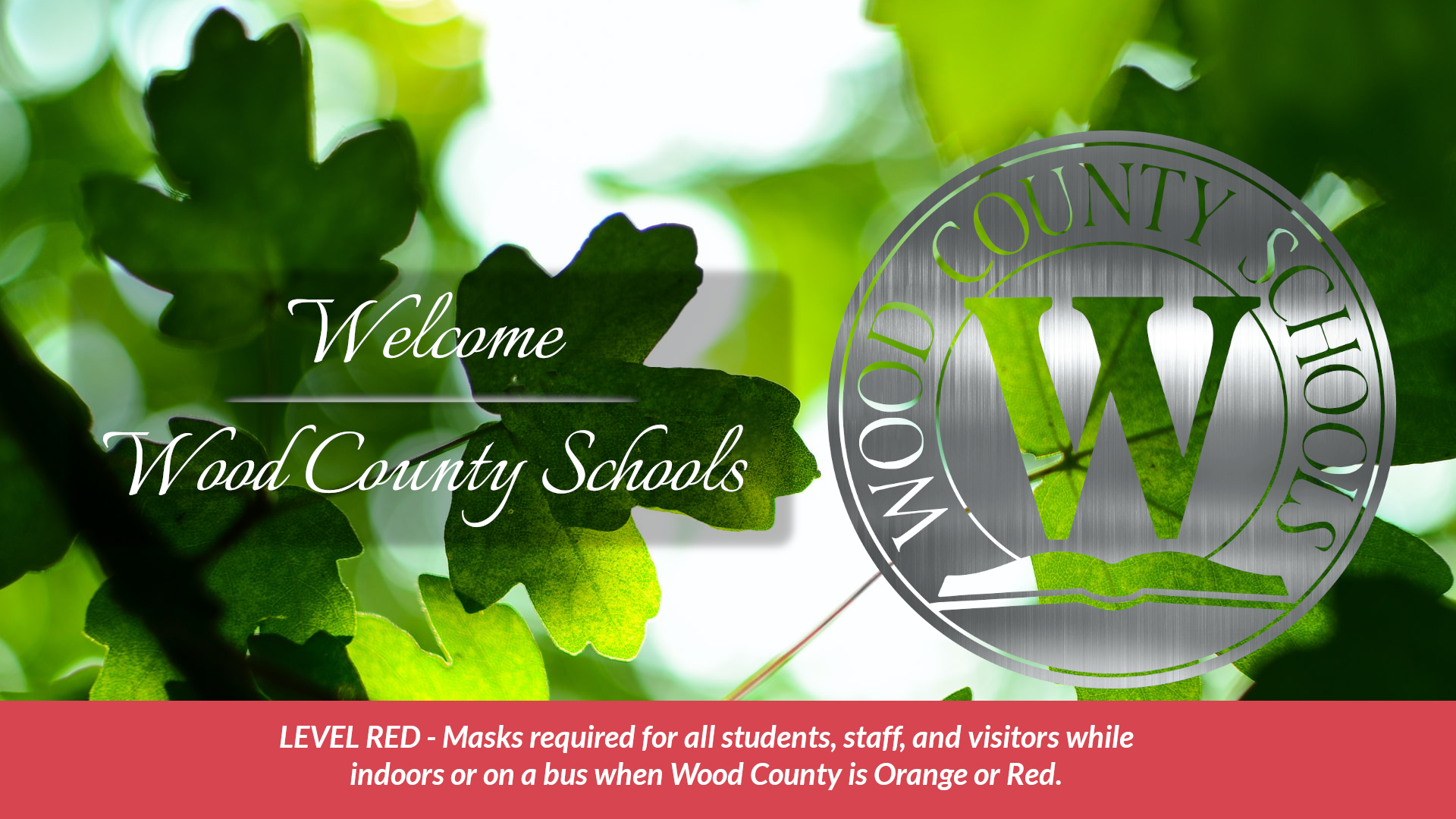 leaves wood county school and logo red mask alert