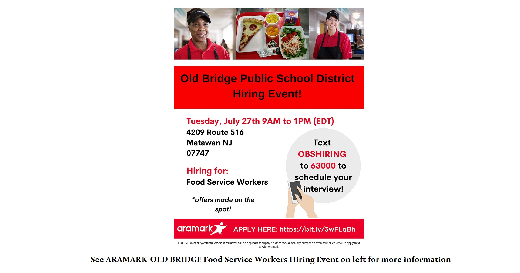 food service workers hiring event