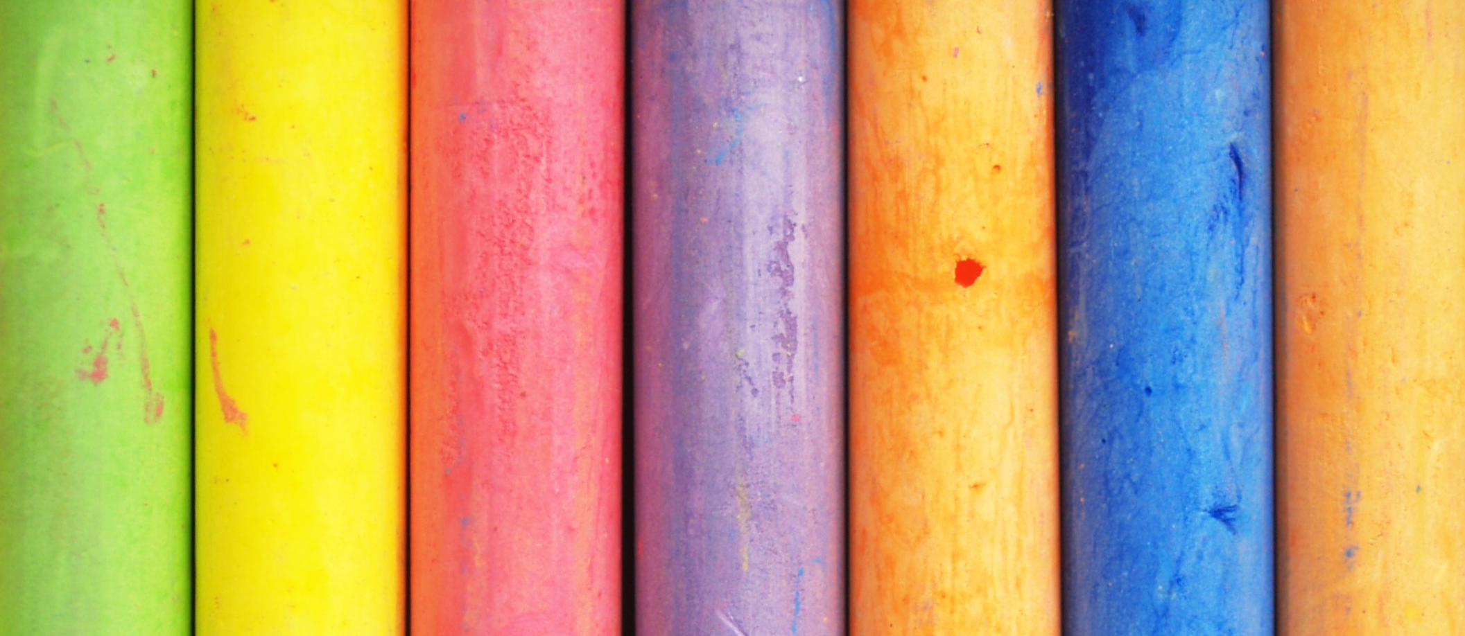 A row of colorful chalk