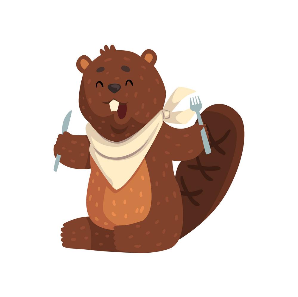 Beaver with fork & knife