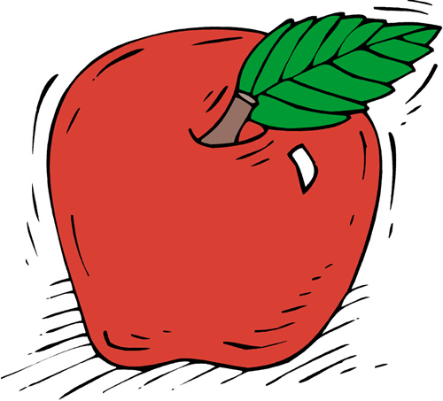 A drawing of an apple