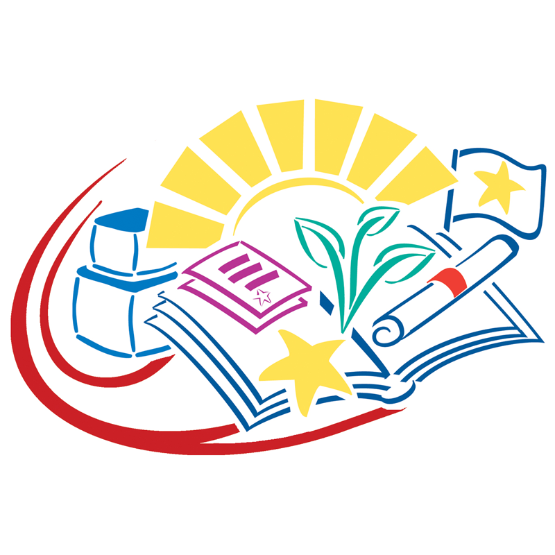 A drawing of an open book with stars and a sun coming out behind it