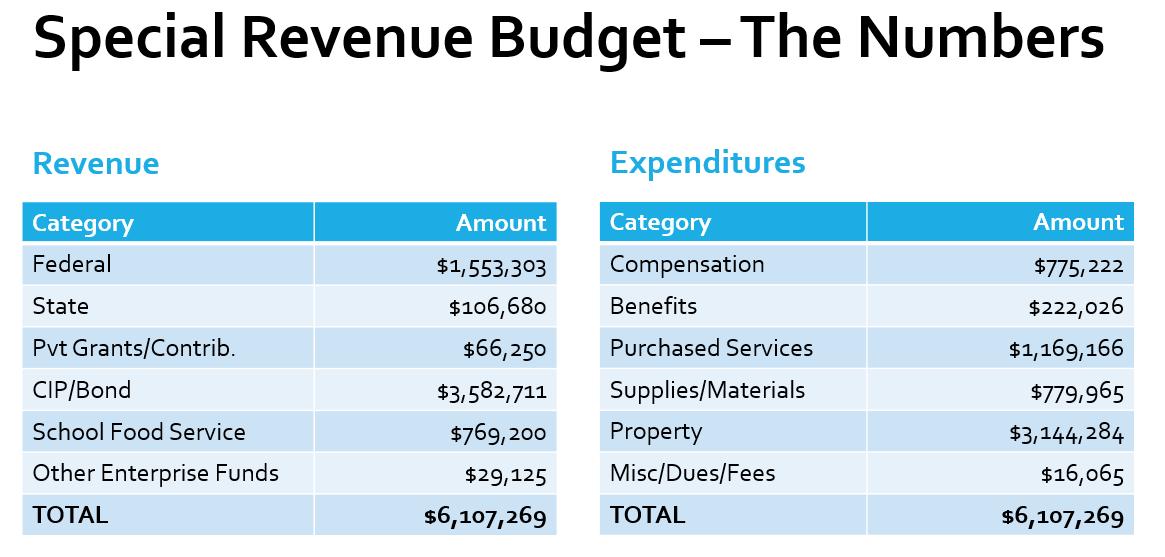 FY21 Special Revenue Budget