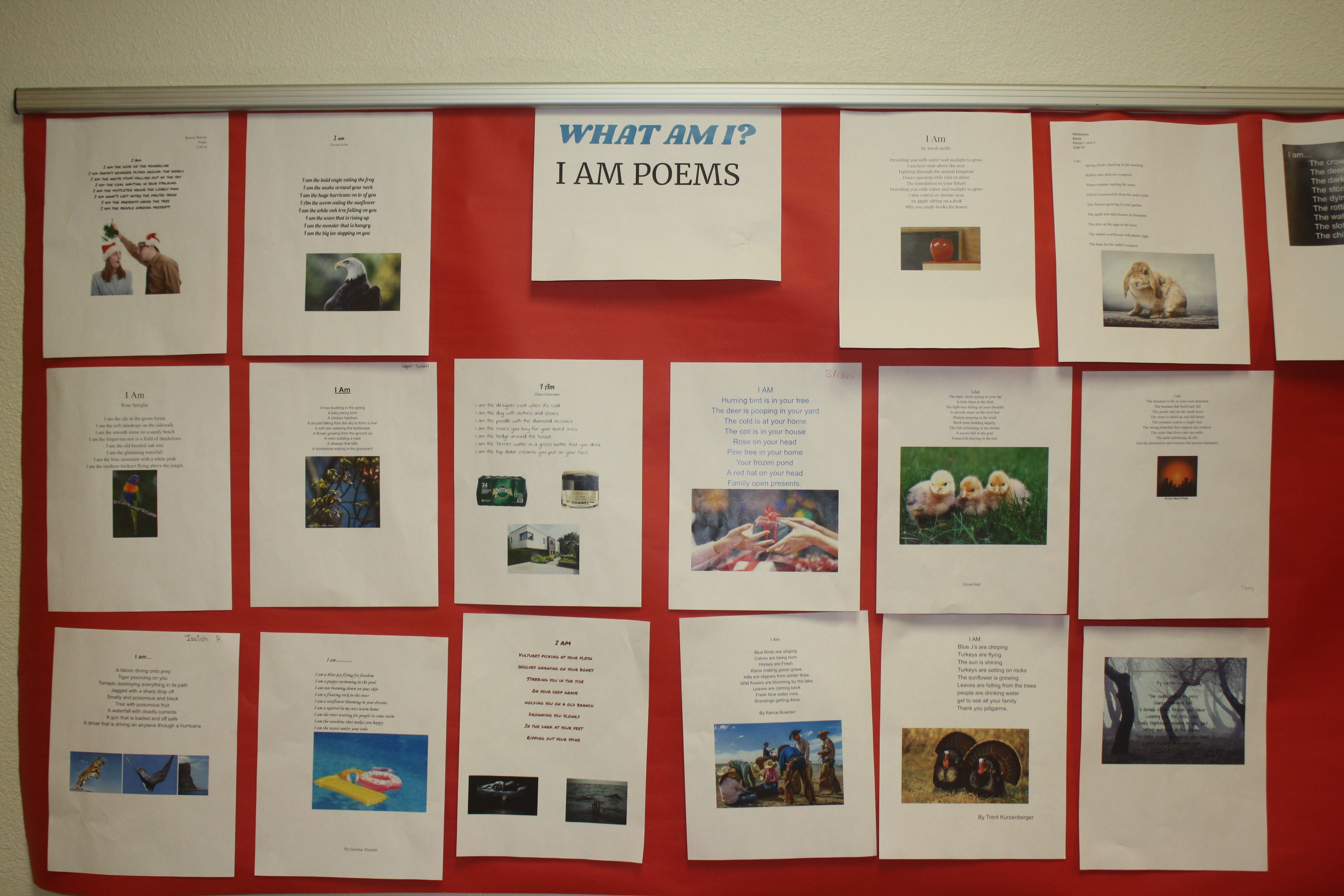 """A photo of the """"I Am"""" poetry activity."""