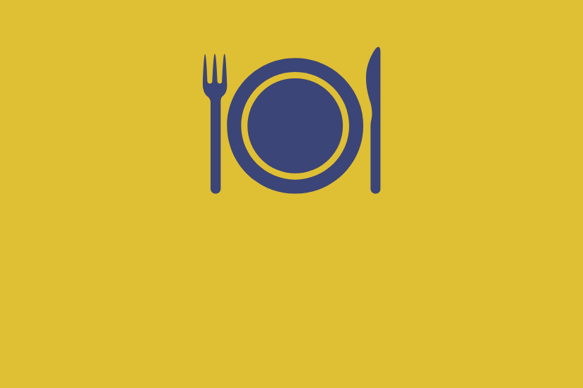 Fork, knife, and plate