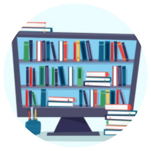 animated computer holding books